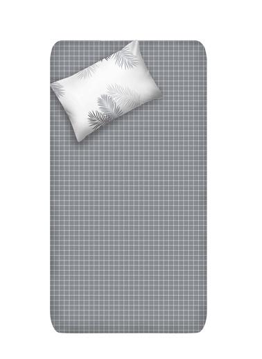 EnLora Home Enlora %100 Doğal Pamuk Çarşaf+Yastık Seti Tek Kişilik Pipong Gri